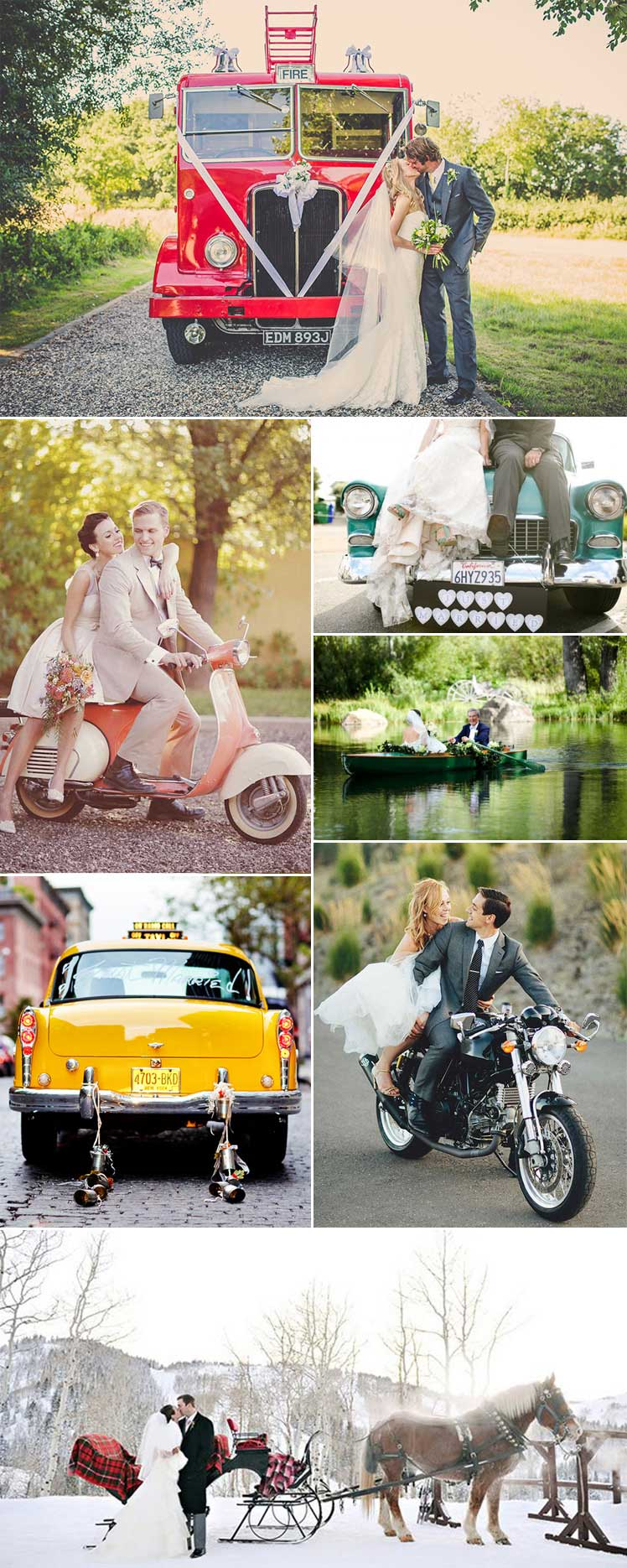 Unusual wedding transport ideas and inspo