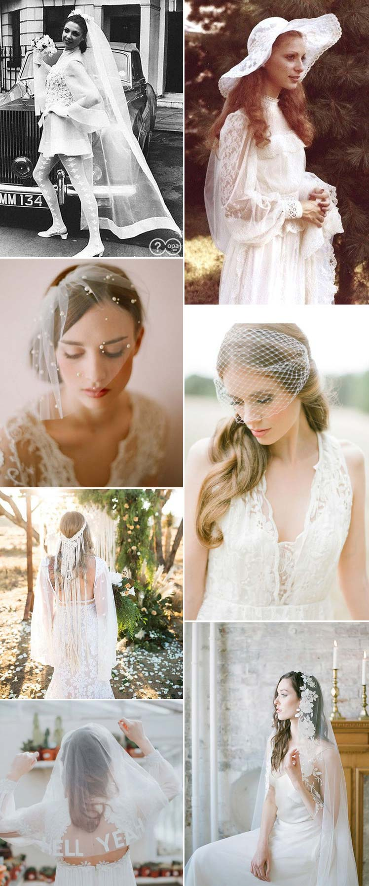 Vintage wedding veils through the decades