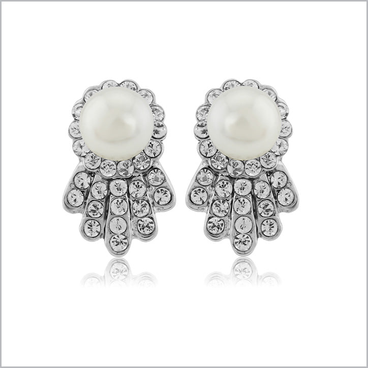 Vintage style wedding clip on earrings