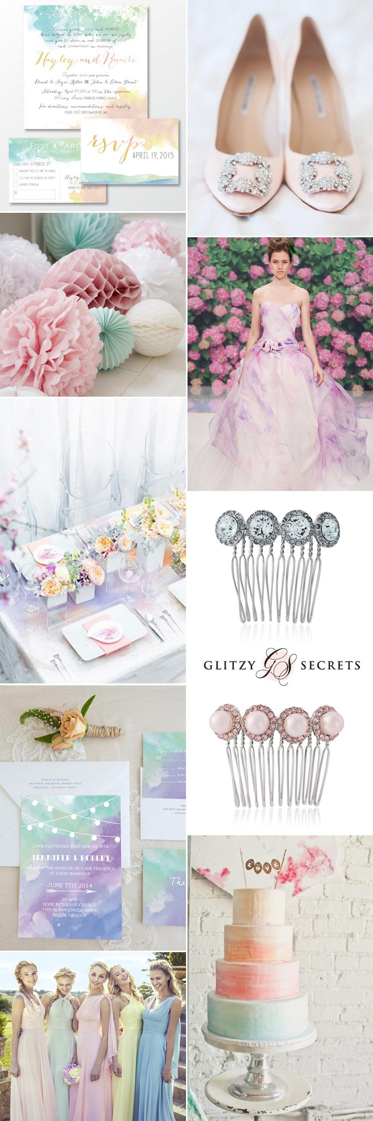 Pretty pastel watercolour theme ideas for your wedding