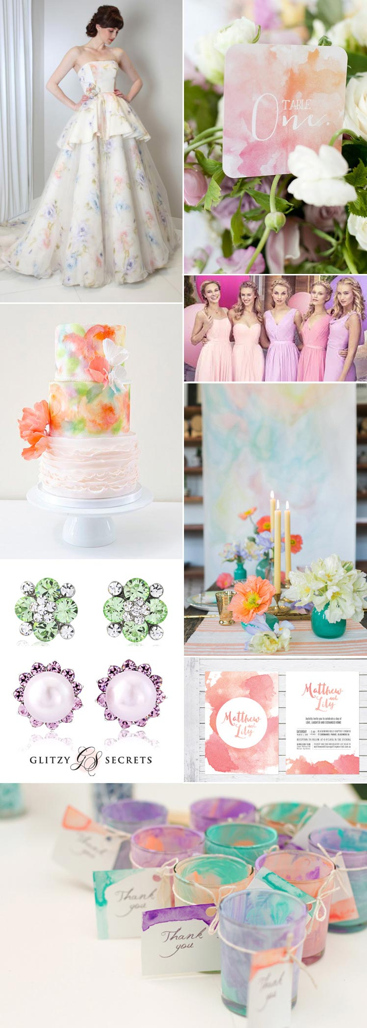 Watercolour wedding theme inspiration