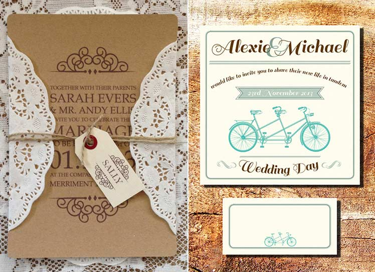Russet and Grey and Lemon Pie Vintage Wedding Stationery