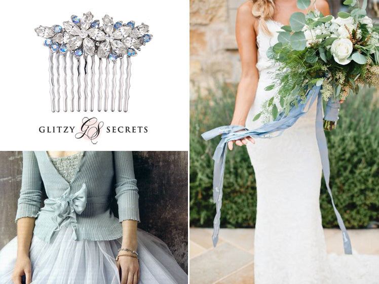 Inspiration for blue wedding day accessories