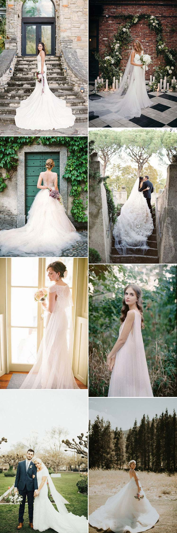 Inspiration for choosing a wedding dress with a train