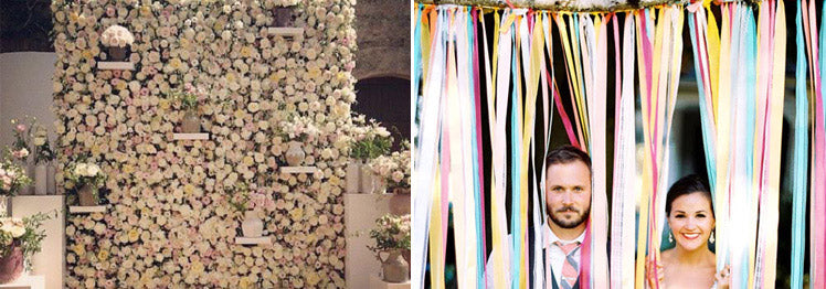 Wedding flower wall and ribbons