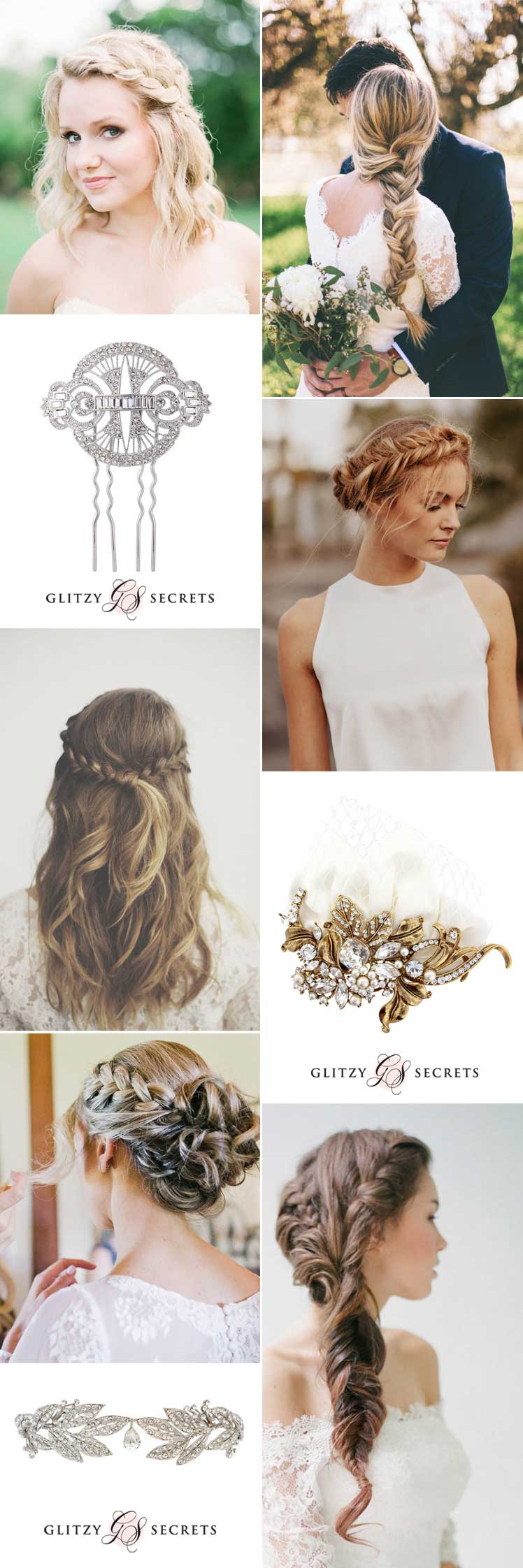 exquisite hair accesories for bridal braids