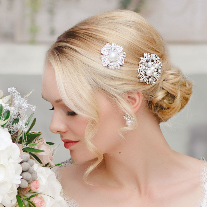 Classic hair slides for brides