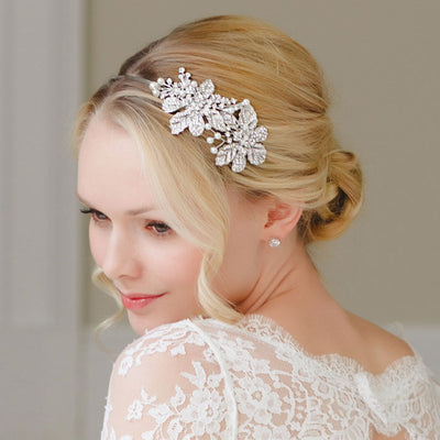 BRIDAL//WEDDING SPARKLE CHIC SILVER FLOWER HAIR CLIP//BARETTE VINTAGE UK