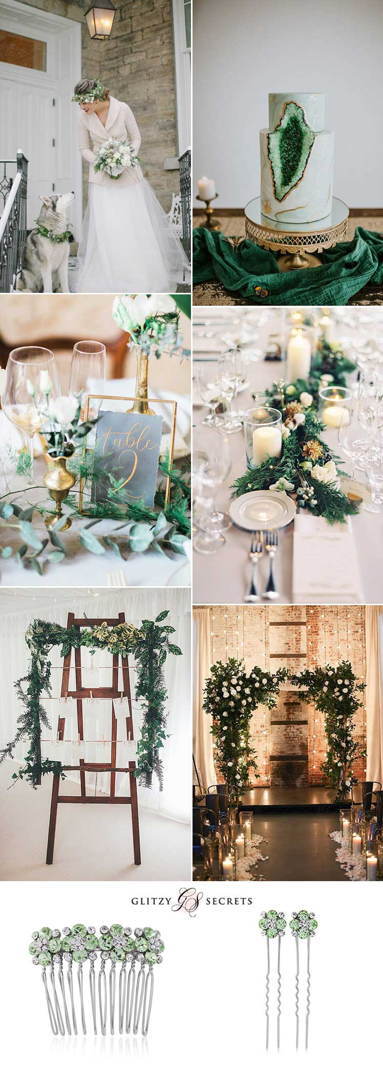 beautiful white and green winter wedding ideas