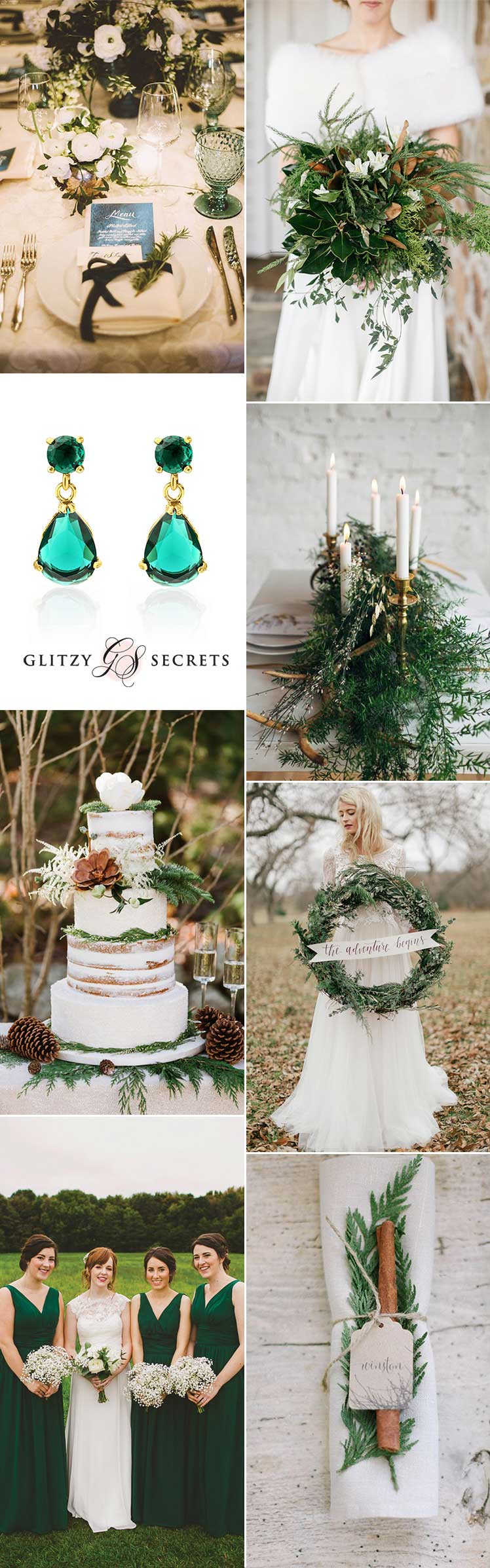 pretty wedding ideas for a white and green winter wedding