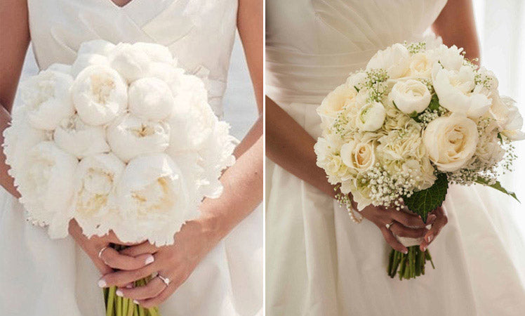 White peony wedding bouquets