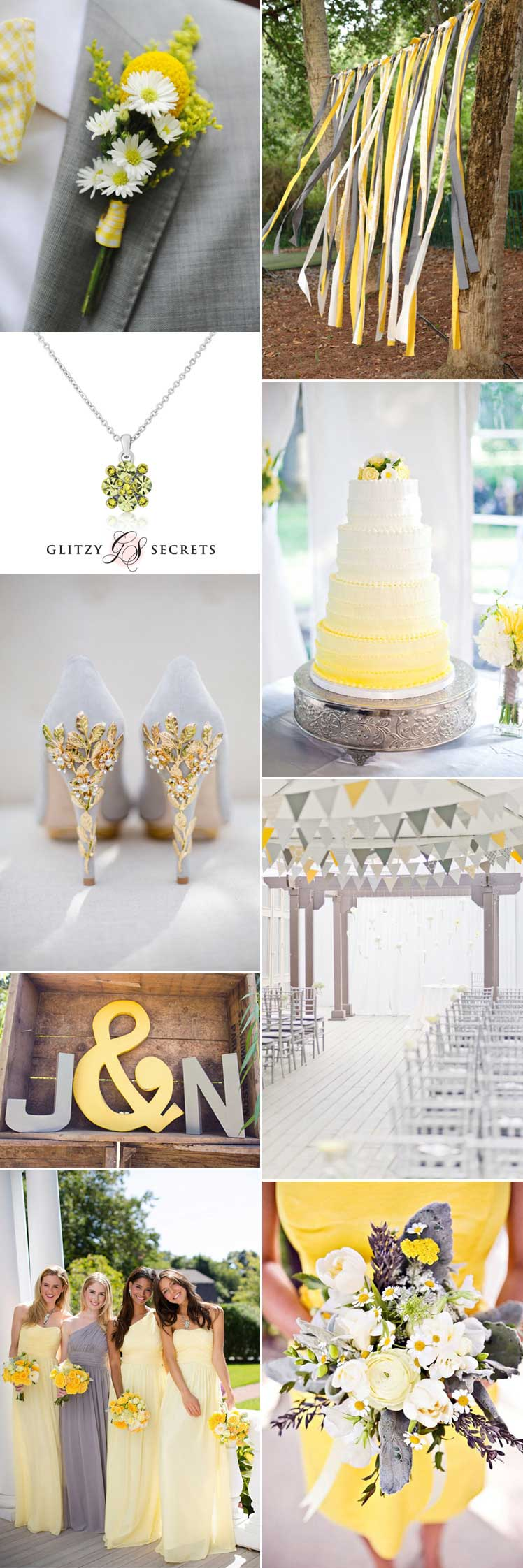 Beautiful wedding inspiration for a yellow and grey wedding