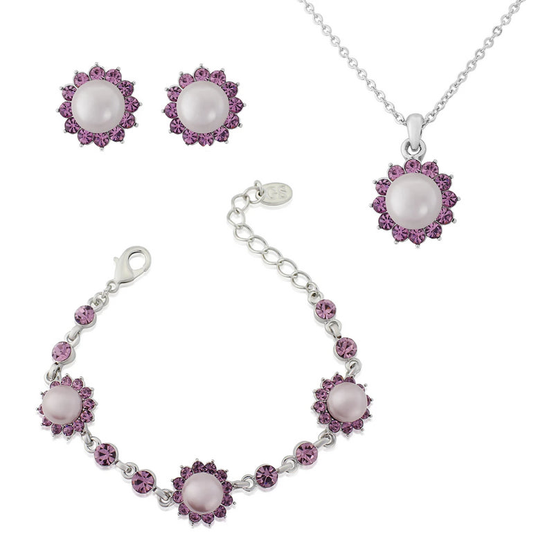 Haze of Amethyst Retro Style Jewellery Set