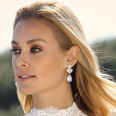 Model bride wears Precious Treasure Wedding Drop Earrings