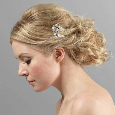Model wears A Touch of Elegance Hair Pin in a tousled up-do