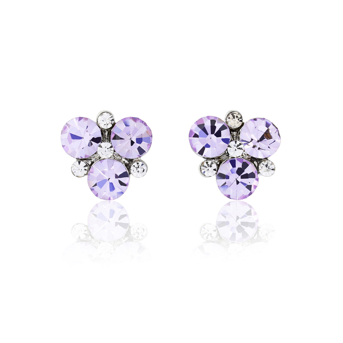 Allure of Lavender Crystal Cluster Stud Earrings