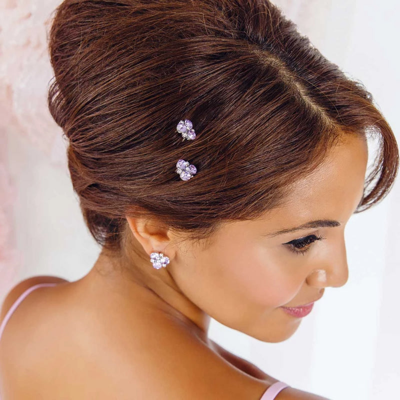 Allure of Lavender Crystal Cluster Hair Pins