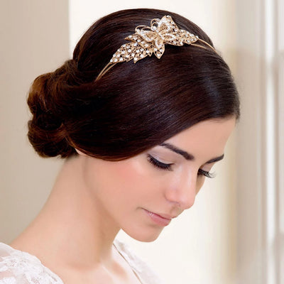 Model bride wears Angel's Wings Butterfly Side Tiara