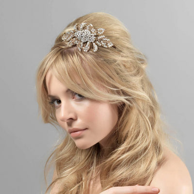 Model bride wears Antique Extravagance Wedding Side Tiara