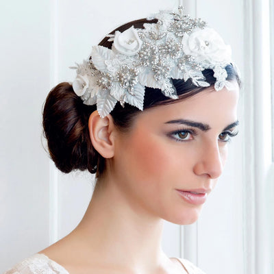 Model bride wears Beautiful Romance Wedding Headpiece