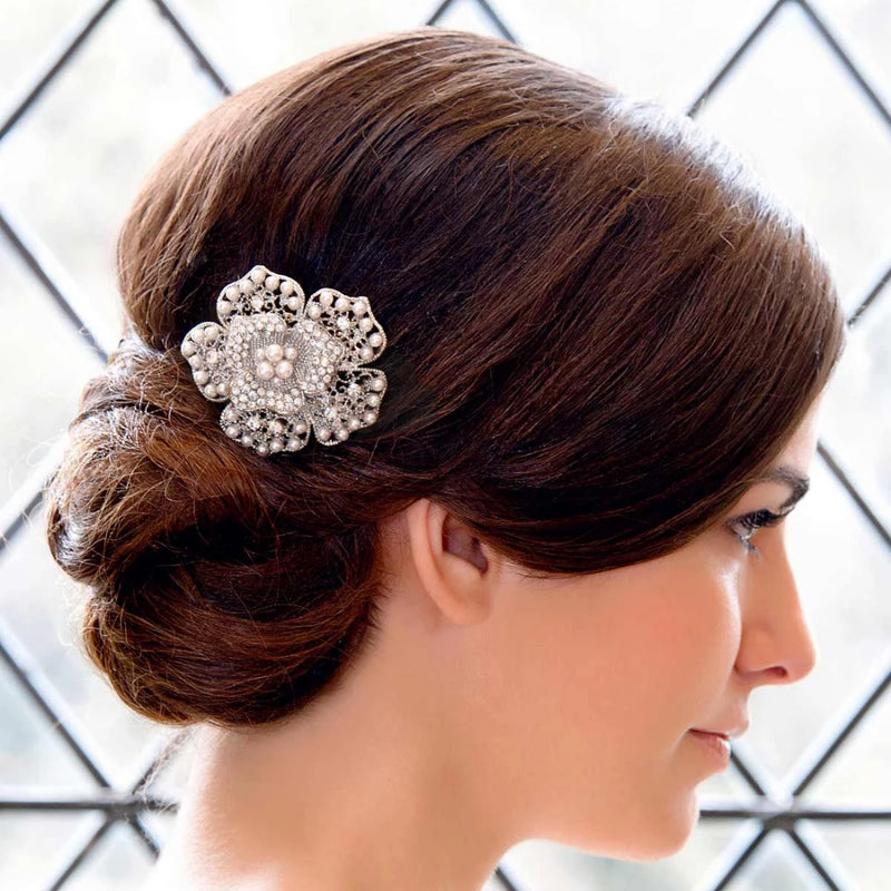 Bloom of Pearl Floral Wedding Hair Clip