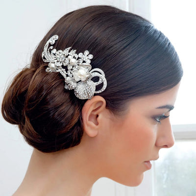 Blooms of Elegance Headpiece shown in a classic side chignon