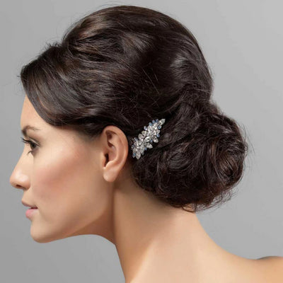 Blue Belle Wedding Hair Comb shown in a side chignon hairstyle