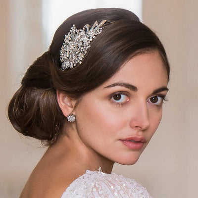 Bouquet of Elegance Bridal Side Tiara shown in a side chignon hairstyle