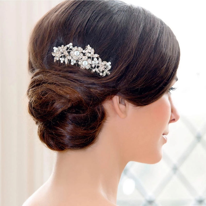 Bouquet of Pearl Wedding Hair Comb