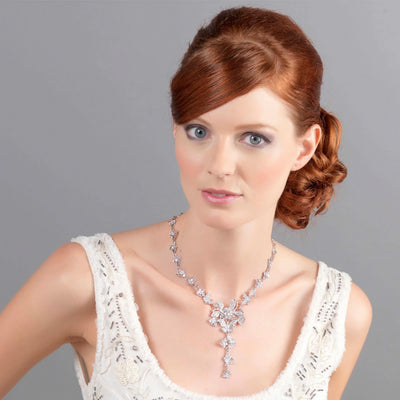 Model bride wears Butterflies of Beauty Crystal Wedding Necklace