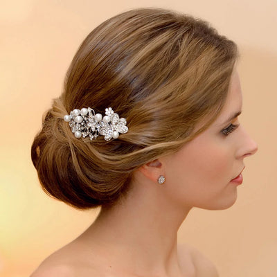 Butterfly Wishes Hair Comb shown in an elegant bridal updo