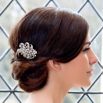 Bygone Charm Wedding Hair Clip shown in an elegant chignon hairstyle