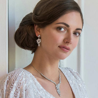 Model bride wears Cascades of Crystal Y Necklace