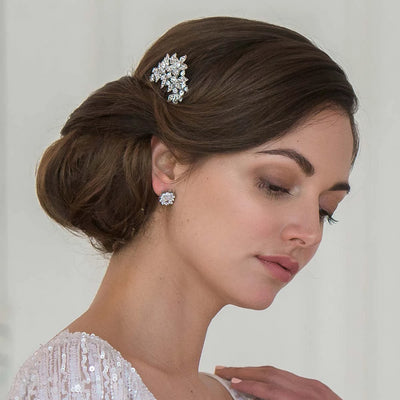 Model bride wears Cascading Flower Wedding Hair Comb