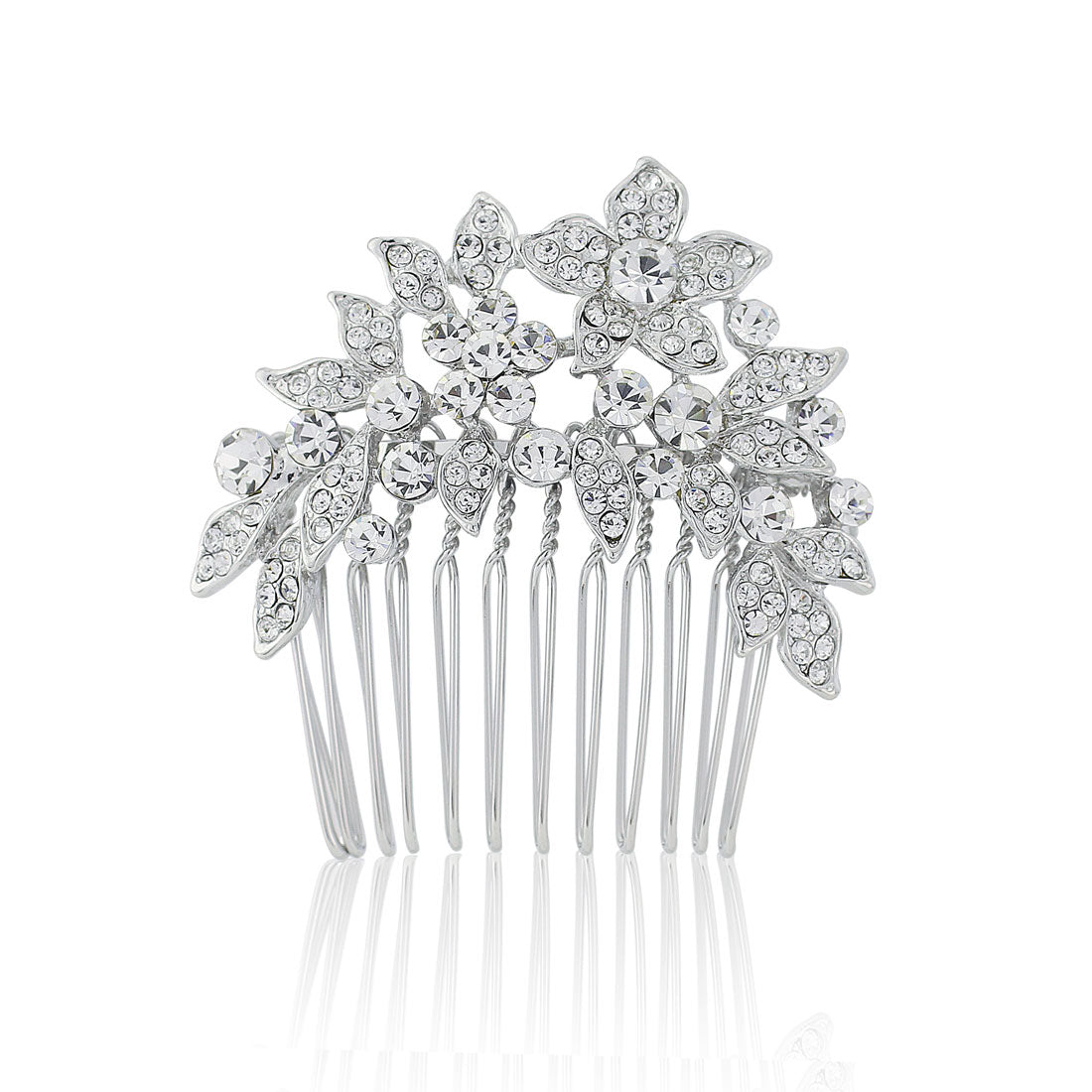 Cascading Flower Crystal Hair Comb