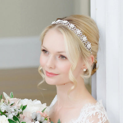 Charming Pearls Bridal Hair Band shown in a classic wedding updo