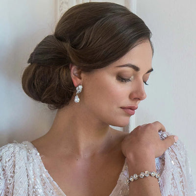 Model bride wears Classic in Crystal Wedding Bracelet