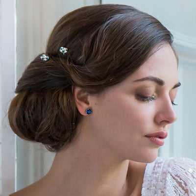 Model bride wears Classic in Midnight Blue Hair Pins in a chic updo