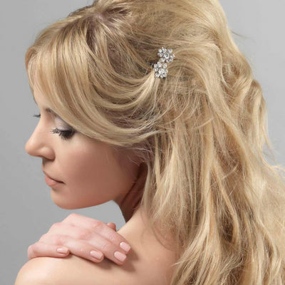 Crystal Kisses Hair Slides shown in a tousled half up hairstyle