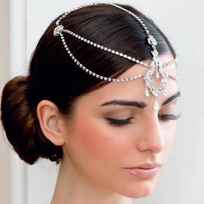 Darling of the Twenties Forehead Headpiece shown with a chic bridal updo