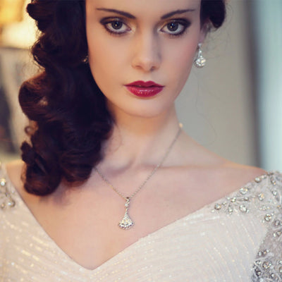 Model bride wears Deco Dream Crystal Pendant