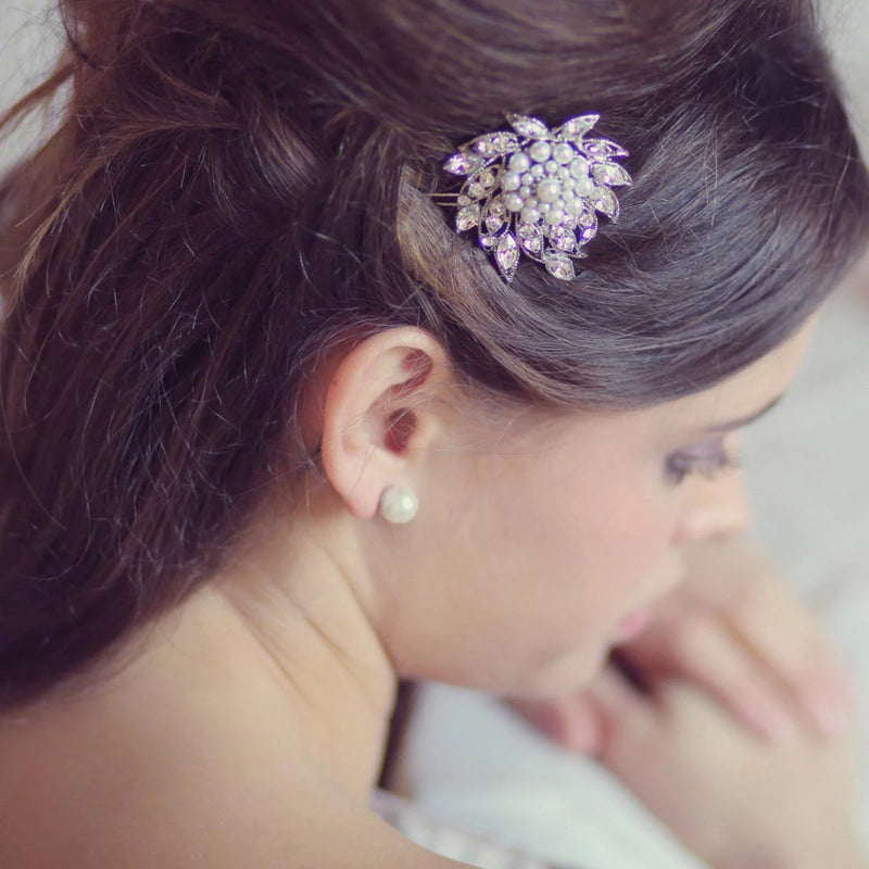 Deco Pearl and Crystal Bridal Hair Slide