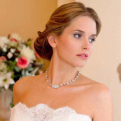 Model bride wears Delicate Pearl Bridal Collar Necklace