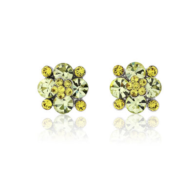 Delicate Sunshine Yellow Crystal Stud Earrings