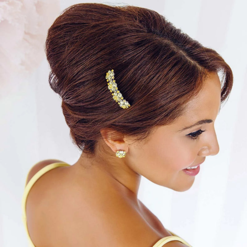 Delicate Sunshine Yellow Crystal Hair Comb