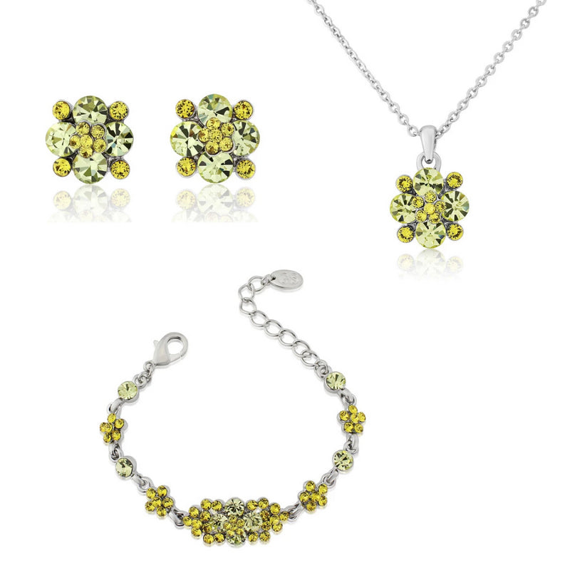 Delicate Sunshine Yellow Crystal Jewellery Set