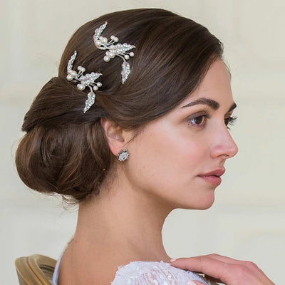 Delicate Vine Bridal Hair Pins shown in a chic wedding updo