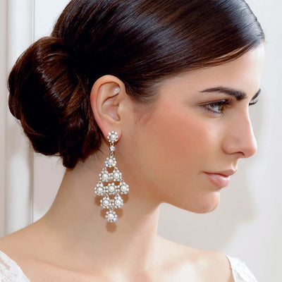 Model bride wears Dramatic in Pearls Chandelier Earrings