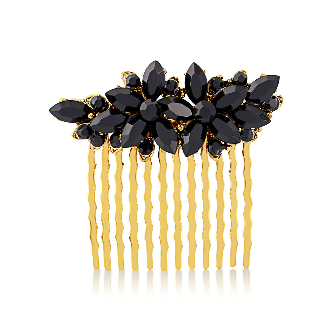 Dramatic Luxe Black & Gold Hair Comb