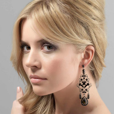 Model wears Dramatic Statement Black Fashion Chandelier Earrings